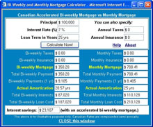 Bi-weekly mortgage payments vs monthly mortgage payments Canadian calculator